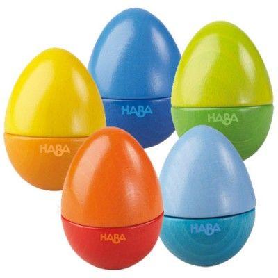 Les oeufs musicaux de la marque Haba favorisera la motricité et l'éveil musical de votre enfant !