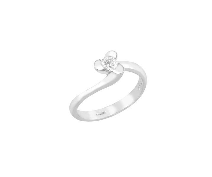 Μονόπετρο δαχτυλίδι Al'oro  Κ18 λευκόχρυσο διαμάντι ZL583
