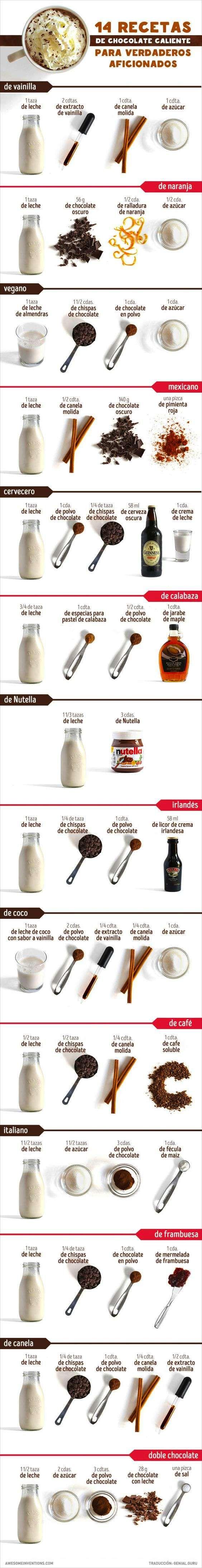 Descubre cómo hacer chocolate caliente con estas 14 recetas. #infografias #chocolate #nutricion