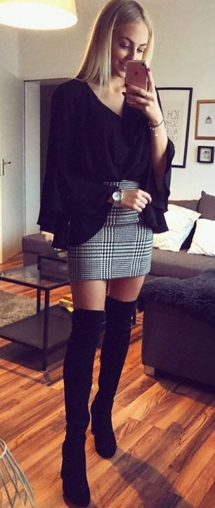 #winter #outfits black v-neck long-sleeved shirt with gray skirt and black suede thigh-high boots