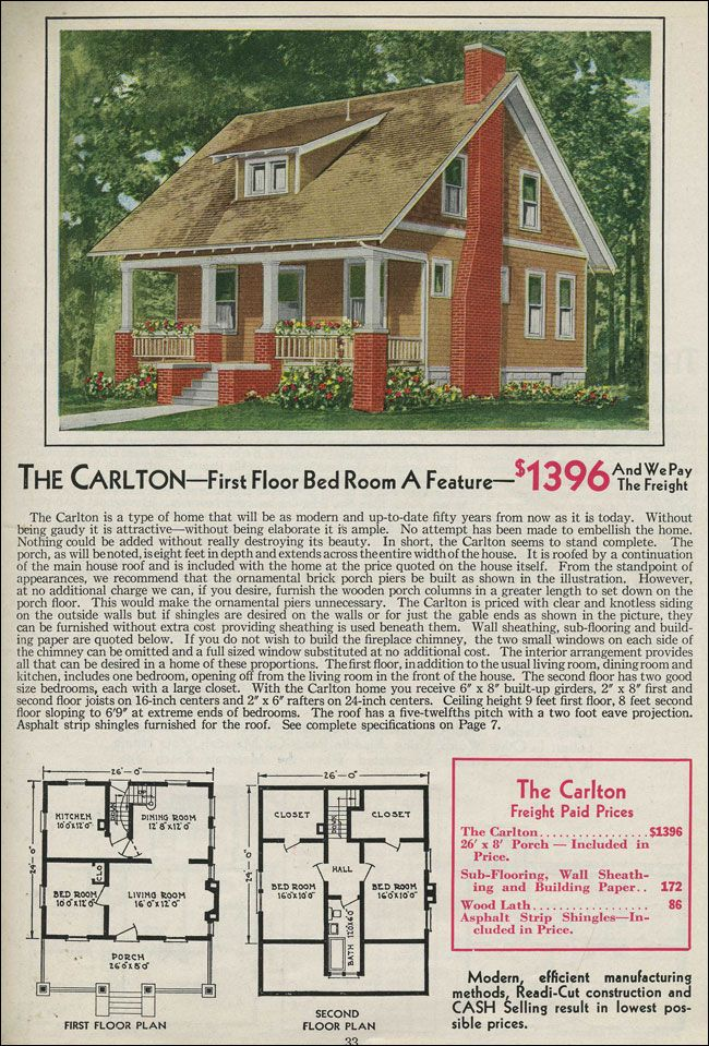 Vintage craftsman bungalow house plans for Vintage home floor plans
