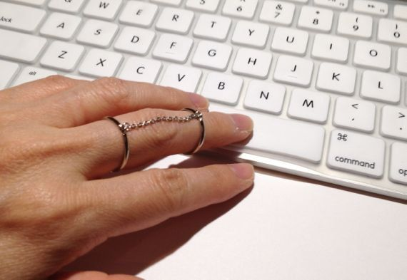 Chain Linked Double Ring Silver Double Chain Ring by ECRUmetal, $28.00
