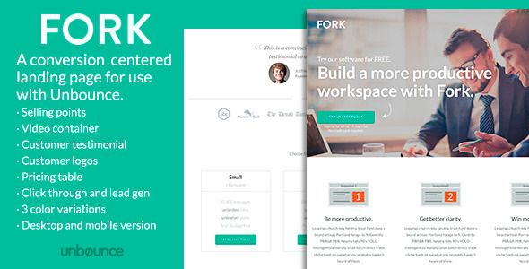FORK - Unbounce Template by ConversionLab FORK is a conversion centered landing page, both click-through and lead generation, for use with Unbounce. Its perfect for attracting new trial accounts for your SaaS service or generating leads. The design is clean and modern, an