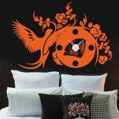 Style and Apply Asian Wall Clock Wall Decal Color: Orange