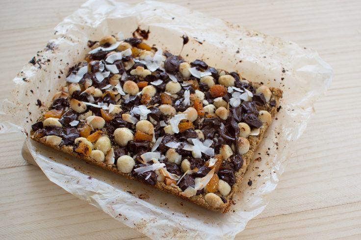 Chocolate Apricot and Macadamia Nut Slice