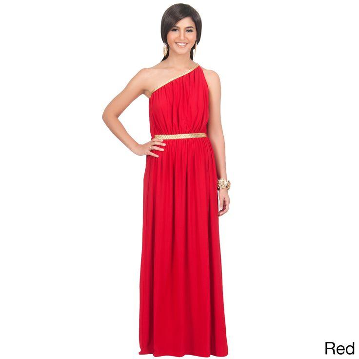 Global KOH KOH Women's One Shoulder Grecian Long Maxi Dress