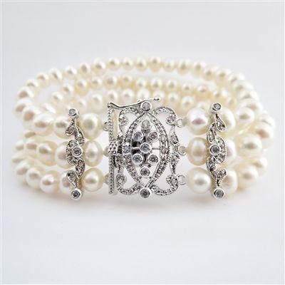 Freshwater Pearl Bridal Bracelet with Vintage Art Deco CZ Clasp