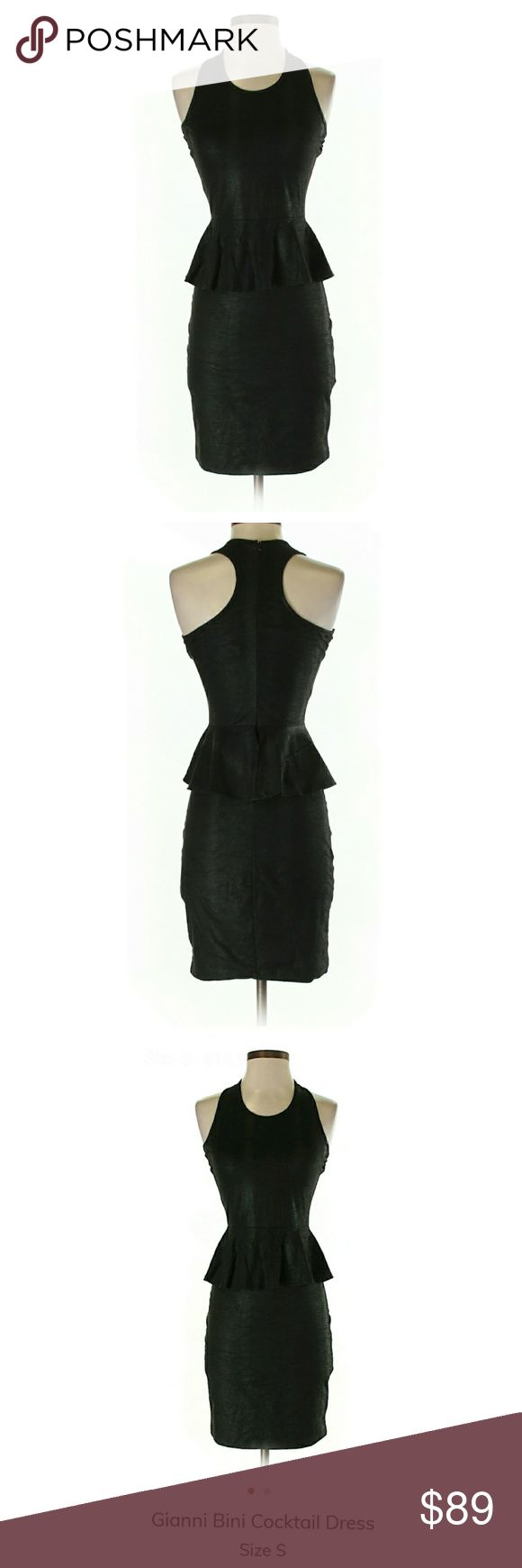 """Gianni Bini Cocktail Dress 🔥 88% Polyester,12% Spandex. 32"""" Chest, 35"""" Length. This dress is hot! Black, sleeveless, crew neckline, mini silhouette. Relatively thin, textured fabric. Subtle textured stripes you can really only see when the light hits it a certain way. You'll turn heads in this LBD! The peplum design hides any imperfections and creates an hourglass silhouette.     *I'm lucky that my buyers have been nothing short of wonderful, but I video record all purchases before and…"""