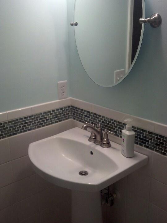 Pedestal Sink Oval Mirror Bathroom Pinterest