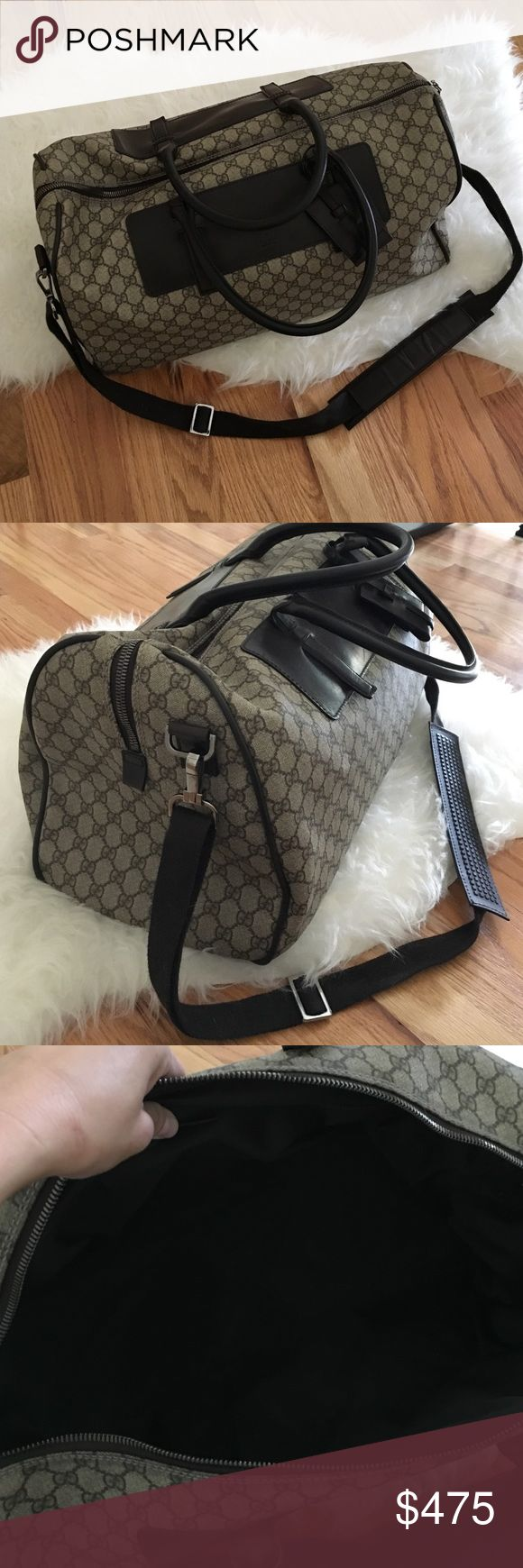 Gucci Carry on Duffle Bag This is a Beautiful Gucci Duffle bag that is a perfect carry on for airplanes or great as a weekender bag! This bag is 100% authentic and was purchased by me from Gucci. Smoke free home. It is in amazing condition no big marks or stains. Zero stains on the inside, inside is like new! Zero tears on the corners. Dimensions are: 19inches long by 11 inches deep by 9.5 inches wide Gucci Bags Travel Bags