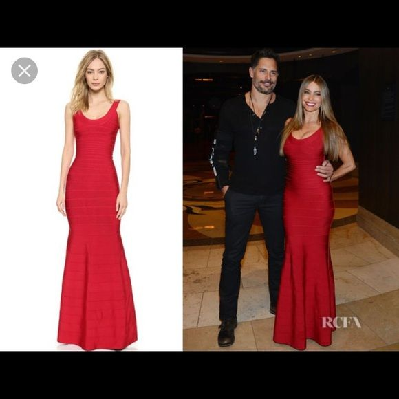 2xHP Herve Leger Bandage Gown Long gorgeous red bandage dress by Herve Leger Size small. Only worn for photo shoot! Perfect condition. No rips, stains, etc. Herve Leger Dresses