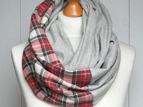 JERSEY infinity scarf with flanel plaid  infinity by Zojanka