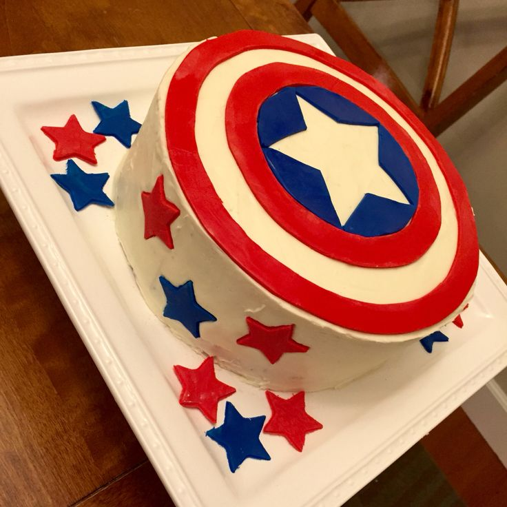 This 14 Captain America cake is iced and decorated with buttercream