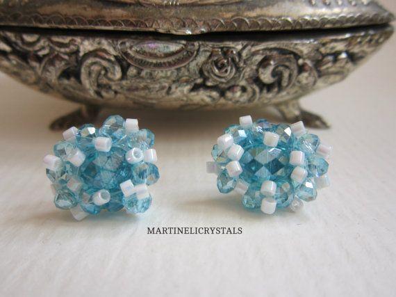 Aqua Blue Crystal Studs Swarovski Crystal by MARTINELICRYSTALS