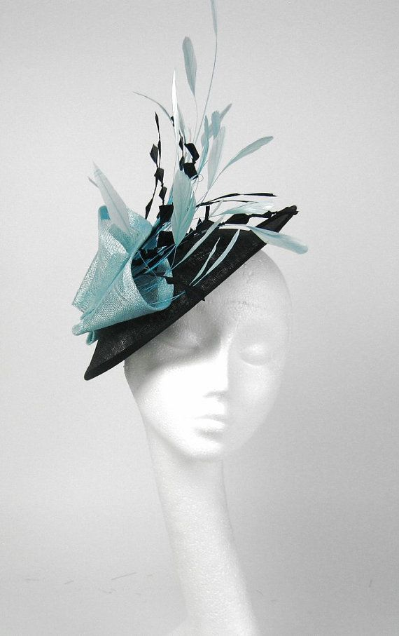 Black and  Turquoise Fascinator Kentucky Derby by Hatsbycressida, $165.00
