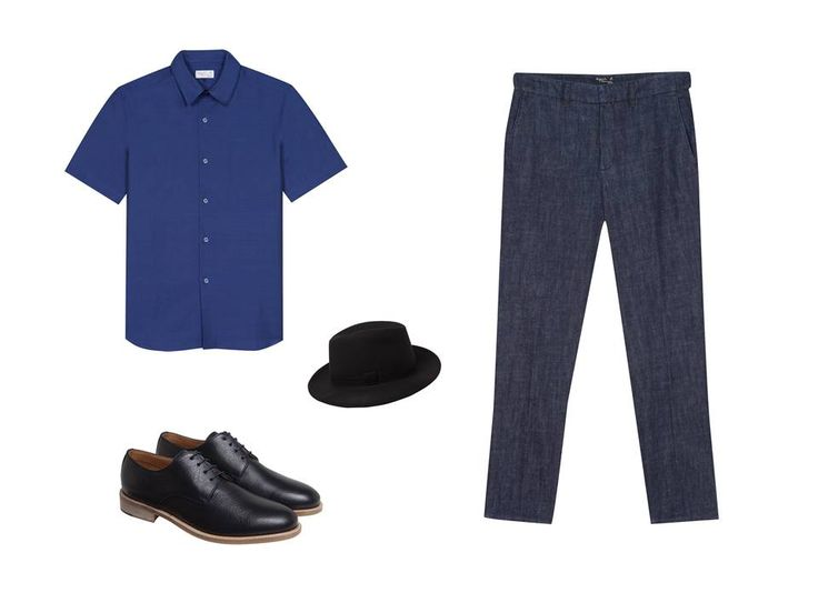 la chemise Thomas manches courtes en lin pourra être portée avec un pantalon en denim, un chapeau en gabardine et une paire de derbies.