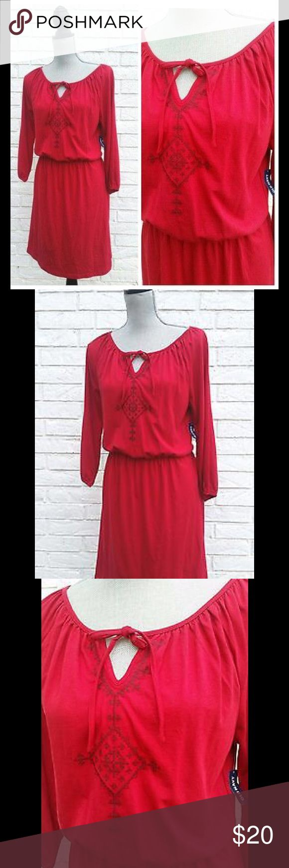 """NWT OLD NAVY Red Dress Sz M Old Navy Peasant Dress Lightweight, Soft Cotton  Natural Red, with embroidery  Perfect Casual autumn dress! Size Medium  38"""" Long Old Navy Dresses Long Sleeve"""