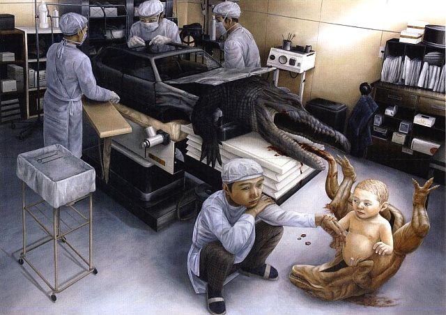 The surrealistic paintings of Tetsuya Ishida (1973-2005) explore the dark side of modern life.