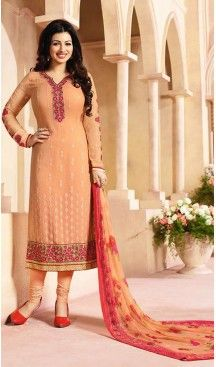 Apricot Color Georgette Straight Suit Wear To Celebrity Ayesha Takia FH472173200