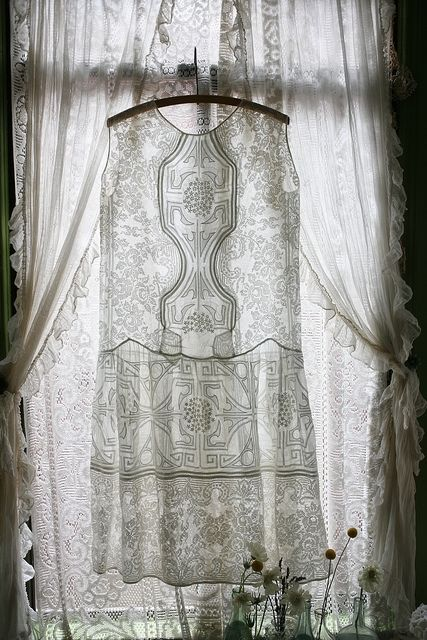 beautiful lace dress in front of lace covered window...perfection....