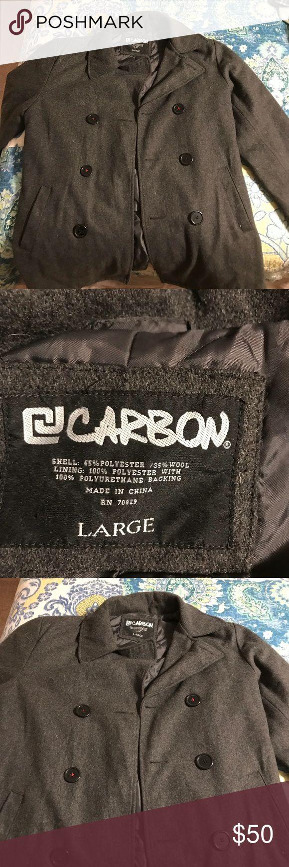 Men's pea coat Men's grey pea coat 65%polyester /35 % wool . Size large . carbon Jackets & Coats Pea Coats