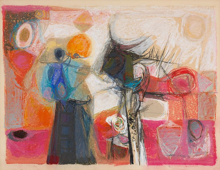 """Jack Bush noted that Cahén introduced a pastel palette into Toronto. Cahén, """"Still-life,"""" 1950, National Gallery of Canada."""