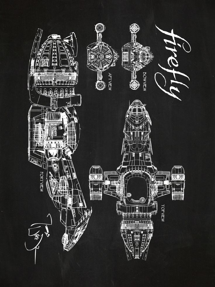 Firefly Serenity Blueprint Graphic Art Poster in Chalkboard/White Ink