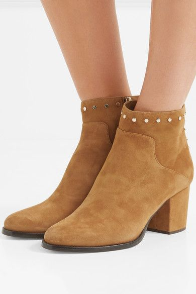 Jimmy Choo - Melvin Studded Suede Ankle Boots - Tan - IT