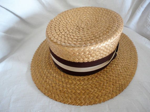 Men's Panama Straw Boaters Hat Meadowbrook Skimmer Hat