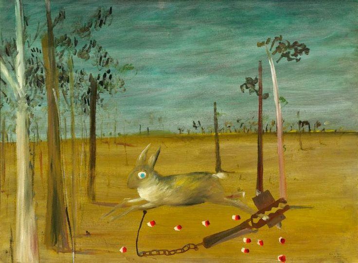Sidney Nolan (Australia, England 22 Apr 1917 – 28 Nov 1992) - Hare in trap 1946 Ripolin enamel on hardboard - 90.5 x 121.5 cm board