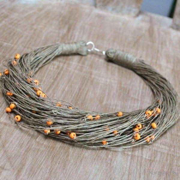 Naszyjnik lniany jesień - Naszyjniki, korale - Biżuteria artystyczna