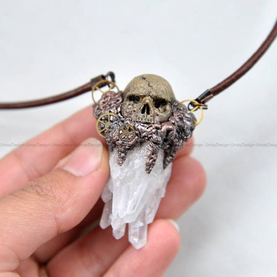 Steampunk, Realistic Hand Sculpted Skull Series Pendant, Quartz Crystal, Painted Clay, Leather Cord, Fantastic Pendant, Necklace  #umaydesign#umay_design#handmade#pendant#necklace#clay#polymerclay#polymer#skull#skulls#skullart#skulljewelry#skeleton#gothic#goth#gothgoth#gothgirl#gothjewelry#pastelgoth#witch#witchy#humanskull#horror#alternativefashion#dark#black#tattoo#crystal#crystals#healing#quartz#art#artsy#sculpted#sculpture#handsculpted#steampunk#steampunkstyle