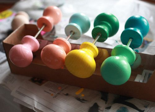 Hmm I Think I Might Like To Make A Coat Rack With Coloured Door Knobs