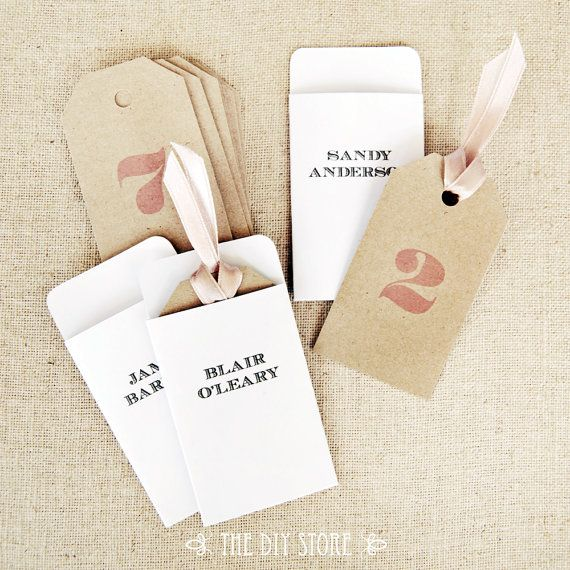 Escort Card Tags and Envelopes, DIY Printables, 100% Text Editable, Wedding Escort Cards and Envelopes