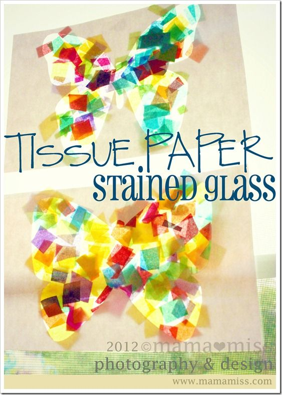 tissue paper stained glass tutorial w/butterfly printable {mama♥miss}