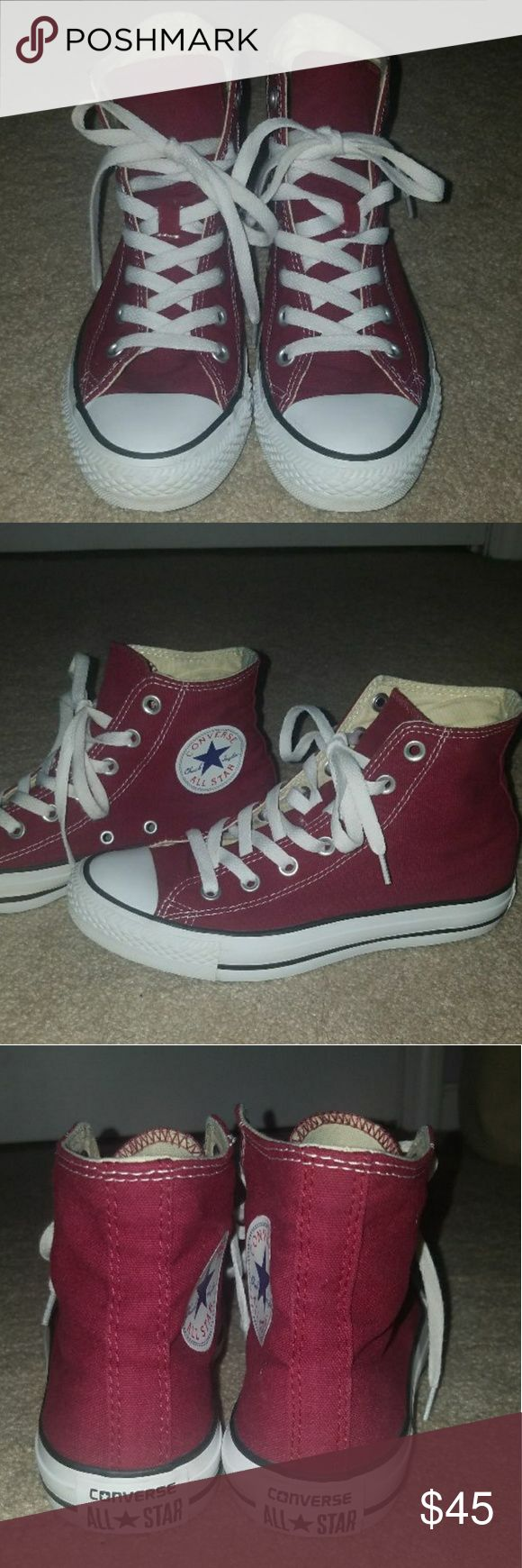 Maroon converse high tops Worn a few times They have been cleaned In great condition  Price is pretty firm since I might keep them Converse Shoes Sneakers