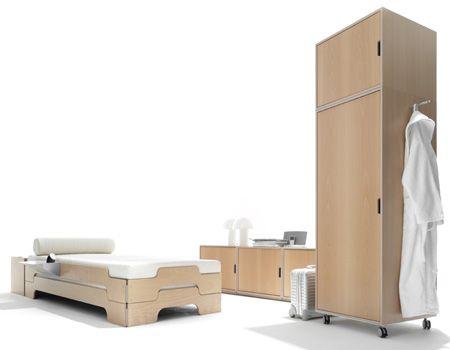 La linea MullerMoebel con letto Stapelliege e armadio Stackable sono l'ideale per arredare piccoli spazi.