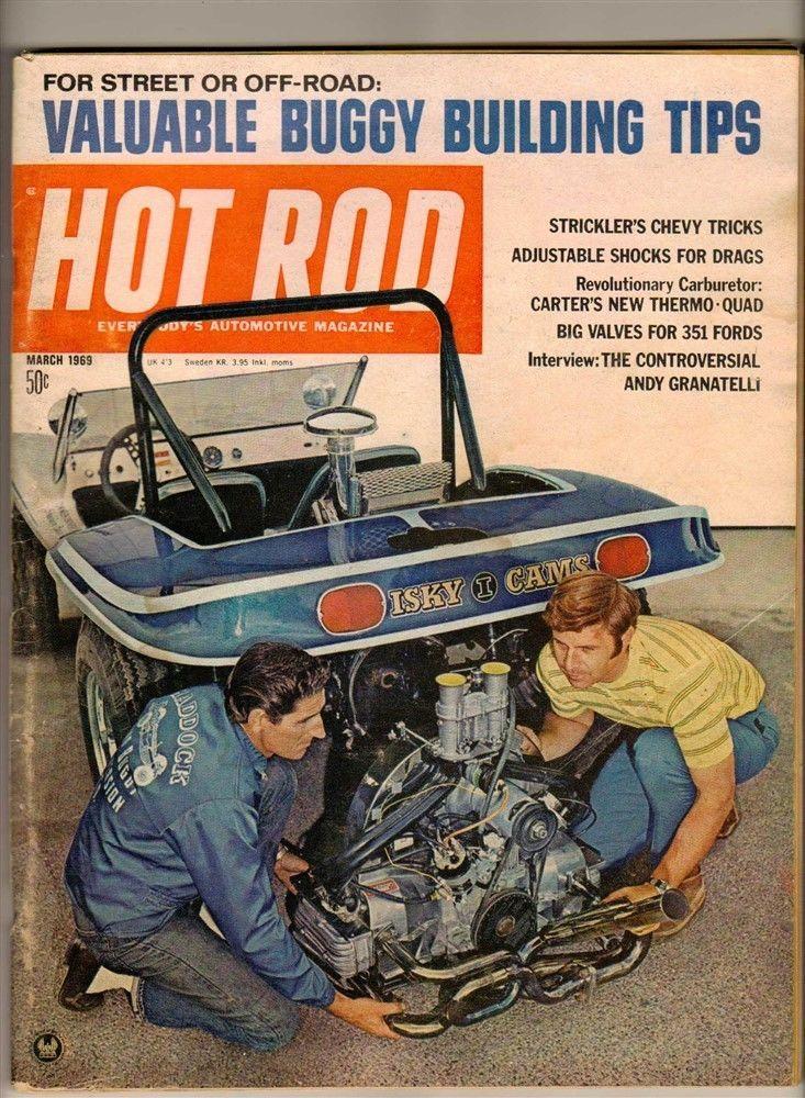 Hot Rod Mar 1969 Old Vtg Car Magazine Dune Buggy Drag Racing Trans Am Firebird | eBay