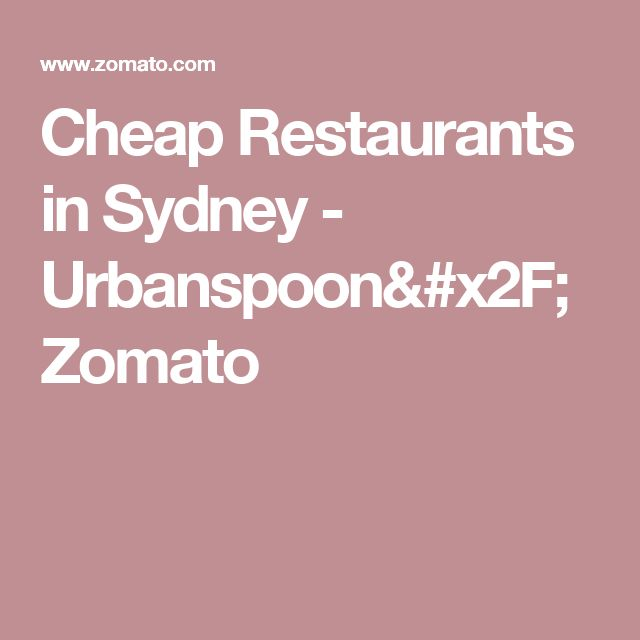 Cheap Restaurants in Sydney - Urbanspoon/Zomato