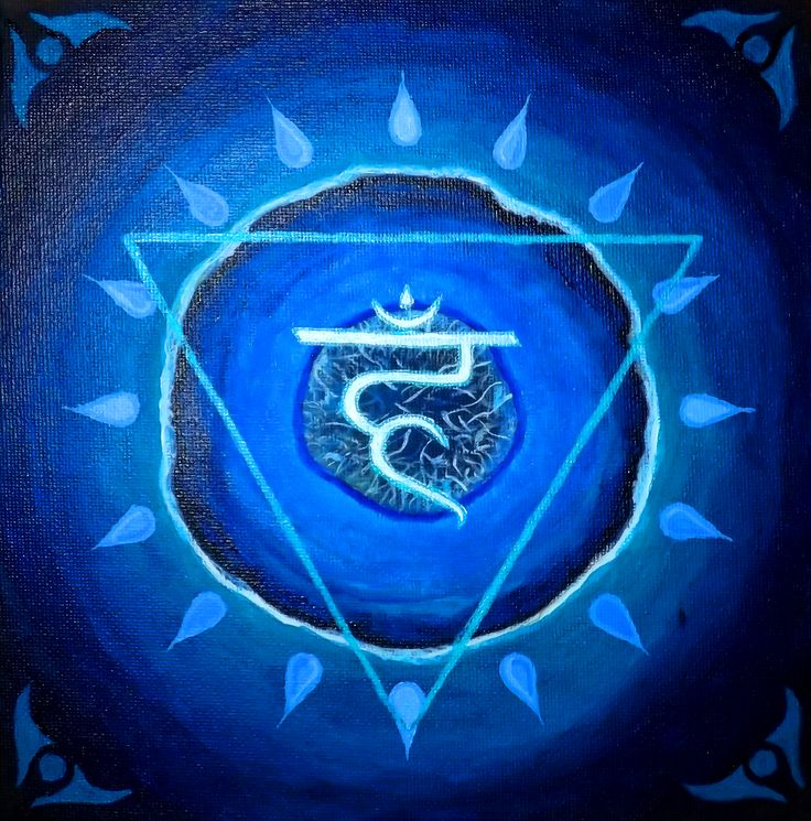Blue agate - mandala canvas painting for fifth chakra.