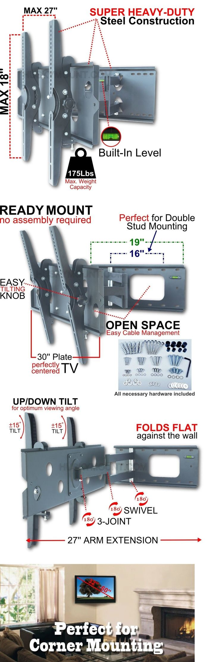 TV Mounts and Brackets: Full Motion Tv Wall Mount Bracket Tilt Swivel 47 52 55 60 Led Lcd Flat Screen BUY IT NOW ONLY: $74.0