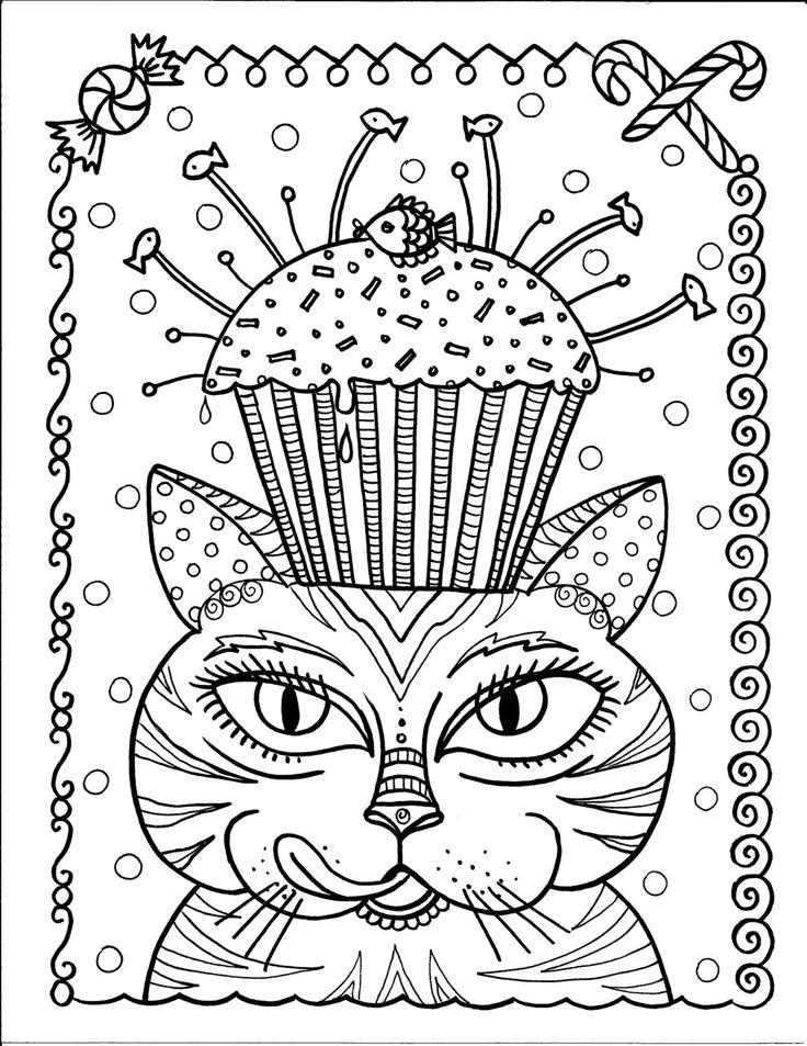 Sofortiger Download Cat und Cupcake Kunst Färbung von ChubbyMermaid
