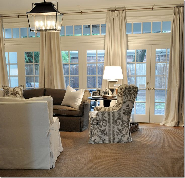 living room, transoms, lantern, slipcoversTransom Windows, Curtains, Living Rooms, French Doors, Livingroom, Living Room Wall, Cote De Texas, Families Room, Windows Treatments