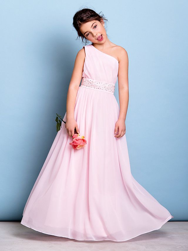 Floor-length Chiffon Junior Bridesmaid Dress - Blushing Pink A-line One Shoulder - USD $71.99