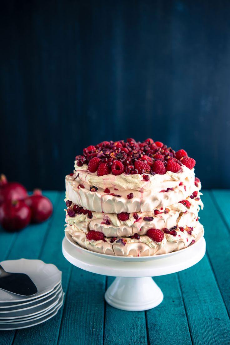 Raspberry Pomegranate Layered Pavlova