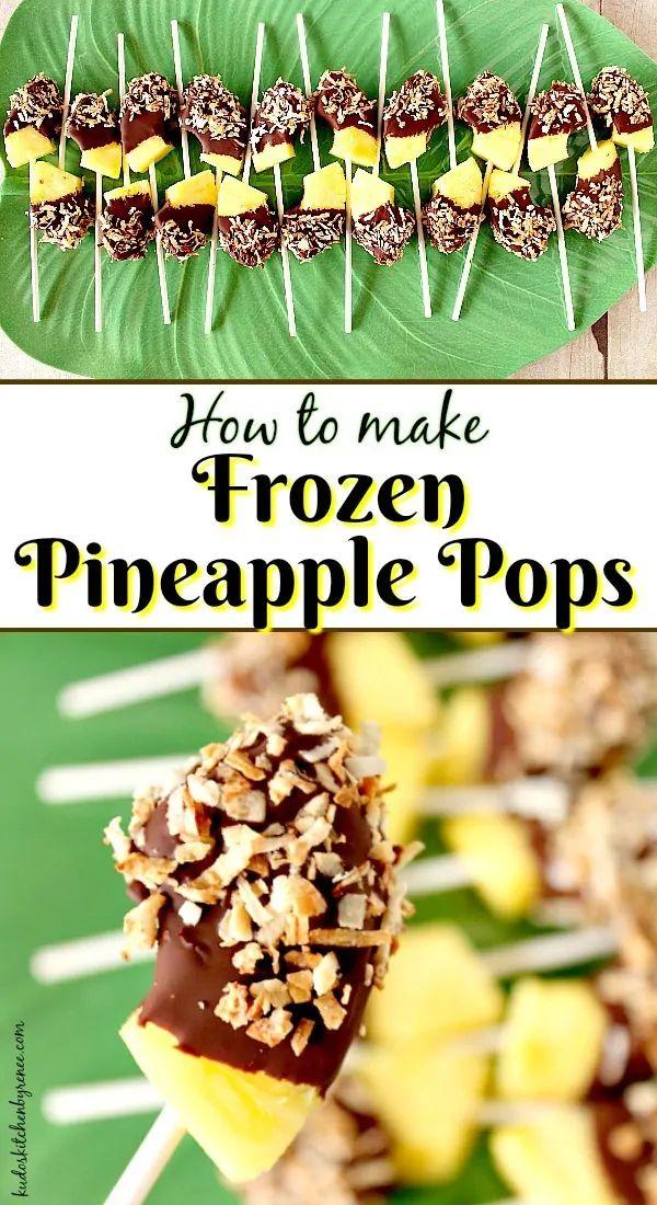Pops d'ananas surgelés trempés dans du chocolat et de la noix de coco grillée   – My Kudos Kitchen Recipes