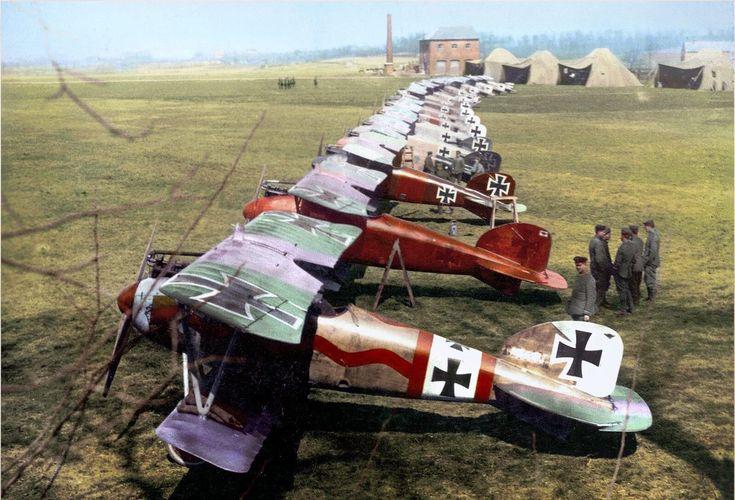 German Albatros D.III's of Jagdstaffel 11 and Jagdstaffel 4 at Roucourt, near Douai, France. April 1917.