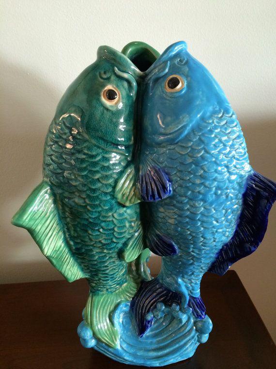Large vintage ceramic vase three fish triple koi blue for Koi fish vase