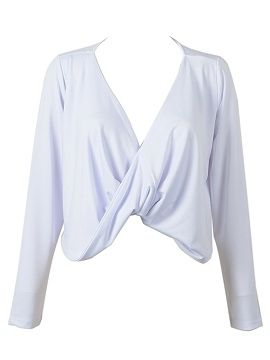 White Twist Front Long Sleeves Crop Top