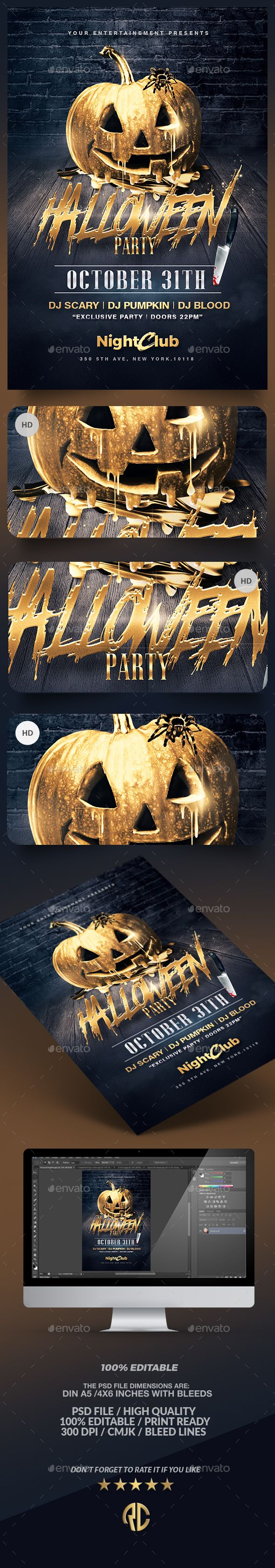 Halloween Party | Gold Pumpkin Flyer Template PSD